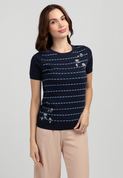 Knit Top with Striped Print and Floral Embroidery