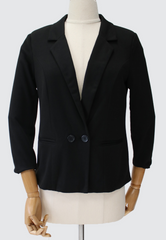 Button Blazer with Cropped Sleeves