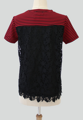 Striped Tee with Crochet Lace Back