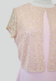 Shift Dress with Gold Lace Detail