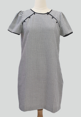 Plaid shift dress with raglan buttons