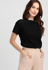 Knit Top with Ruffled Stand Collar