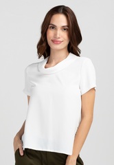 Cowl Collar Short Sleeve Blouse