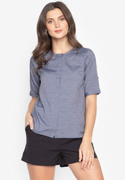 Plain Buttondown Blouse with Back Details