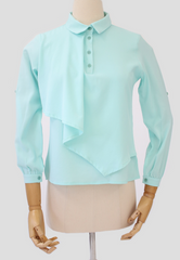 Long Sleeved Blouse with Draped Front