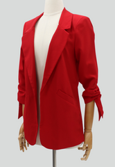 Blazer with Ruched Tie-up Sleeves