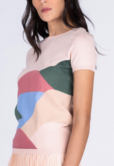 Color Block Landscape Print Knit Top