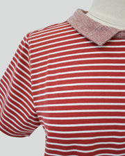 Apple & Eve Striped Tee with Tweed Collar