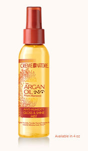CREME OF NATURE ARGAN OIL ANTI-HUMIDITY GLOSS & SHINE MIST 4 OZ - All Star Beauty Complex