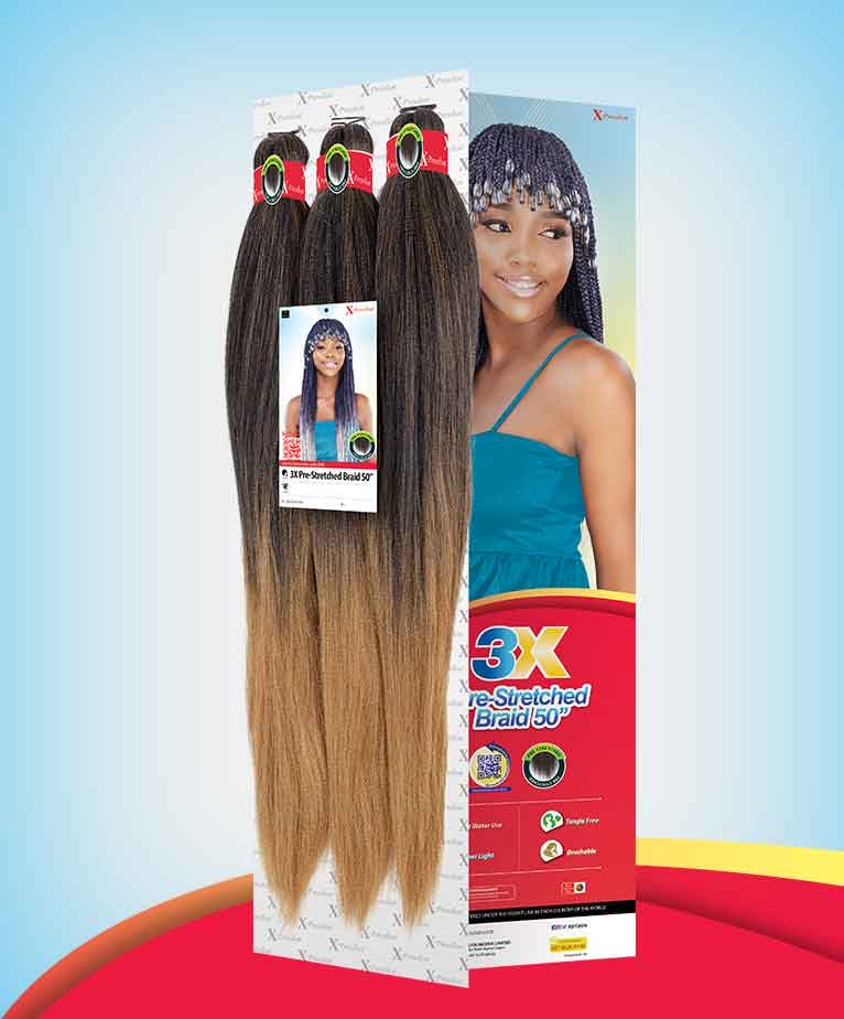 "X-Pression 3x Pre-Stretched Braid 50"" - All Star Beauty Complex"