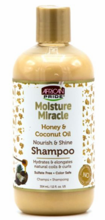 African Pride Moisture Miracle Honey & Coconut Oil Shampoo 12oz - All Star Beauty Complex