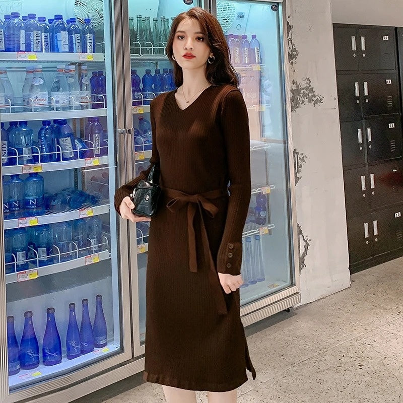 New Winter Solid Color Midi Dresses