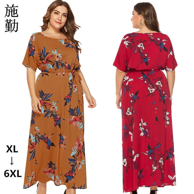 SHIQIN Plus Size Round Neck Short Sleeve Dress Summer Women'S Printed Long Skirt