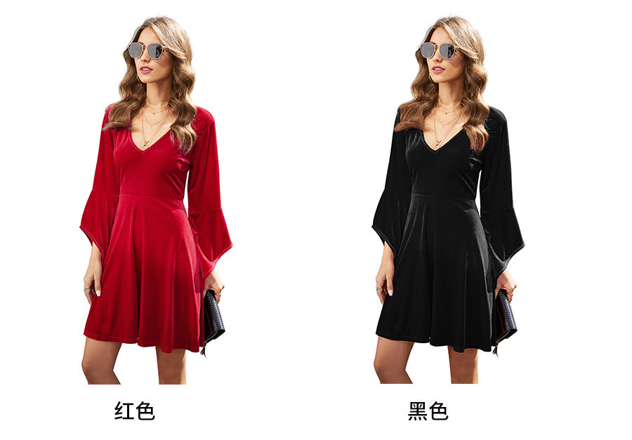 LUOQI 2020 New Women's V-neck Flared Sleeve Loose Dress