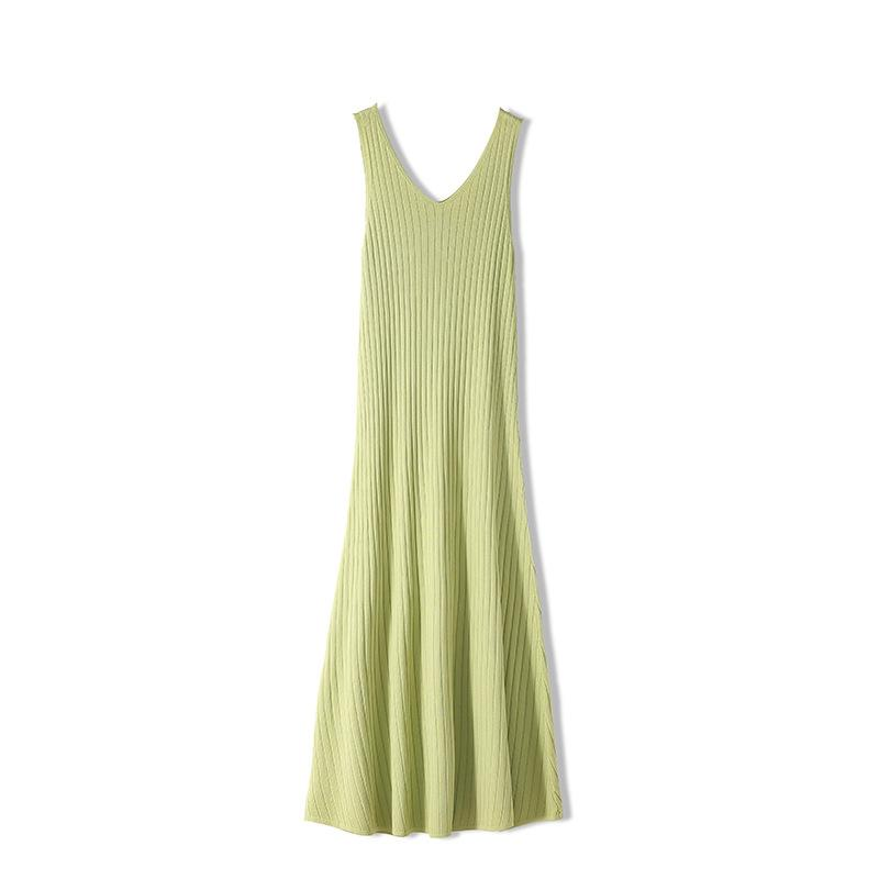 Summer Ice Silk Female Knitted Dress Mid-Length Pregnant Women Sleeveless Vest Skirt