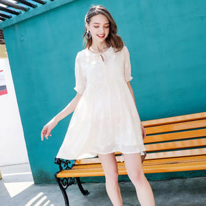 Summer Maternity Skirt Sky Short Sleeve Dress Mid-Length Tops Pregnancy Fashion Ruffles