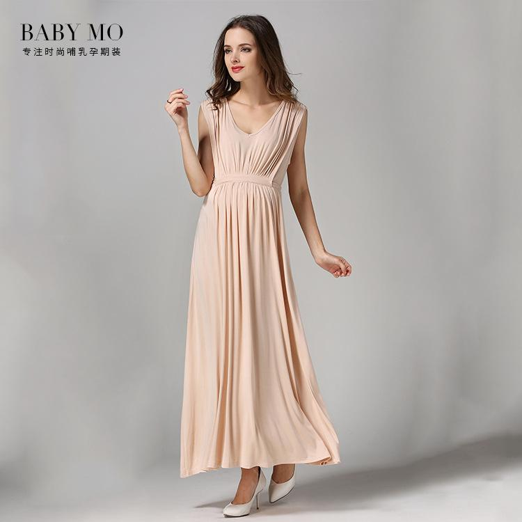 Temperament Maternity Dress Sleeveless Long Chiffon Solid Dress