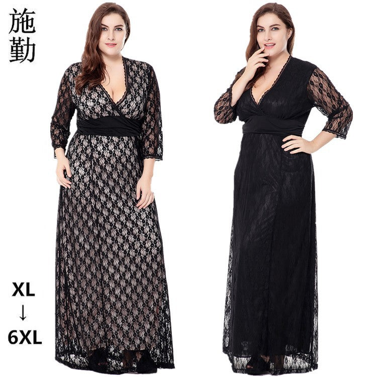 SHIQIN Spring And Autumn Plus Size Collar Evening Dress Long Skirt Black Hollow Seven-Point Sleeves Lace Dress