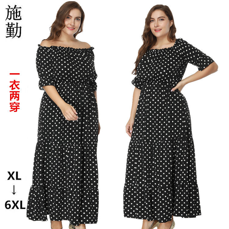 SHIQIN Spring And Summer Collar Collar Plus Size Fat Wave Dot Dress Beach Dress