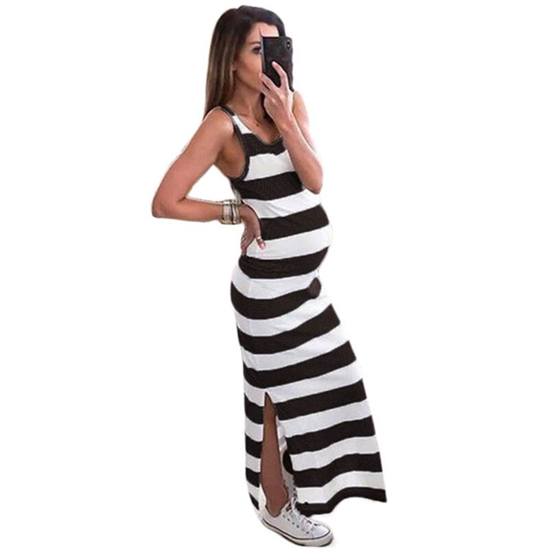Summer Sleeveless Striped Round Neck Slit Pregnant Women Dress Dress Women