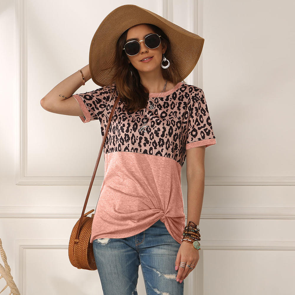 Pink O-Neck Leopard Print Twisted Top