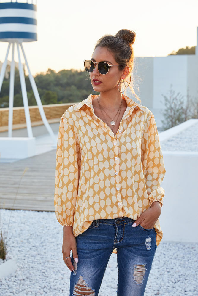 Yellow & White Raindrop Puff-Sleeve Button-Up