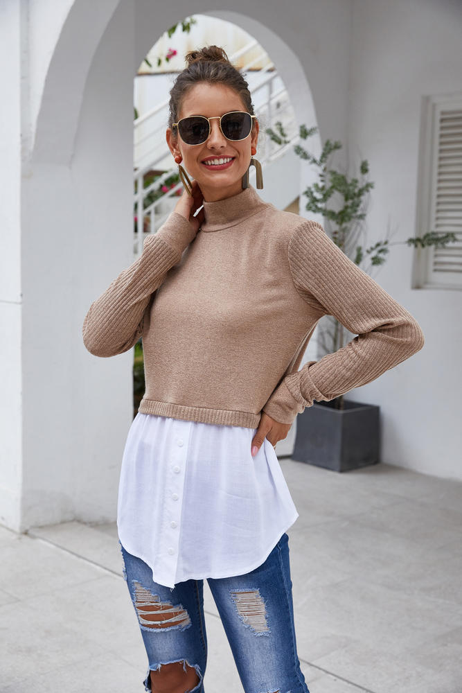 Layered Mock Neck Top