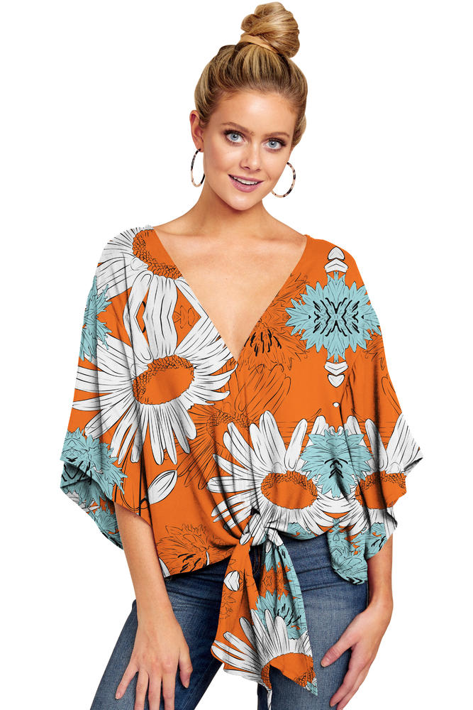 Orange Sunflower No Positioned Print V-neck Knot-front Top