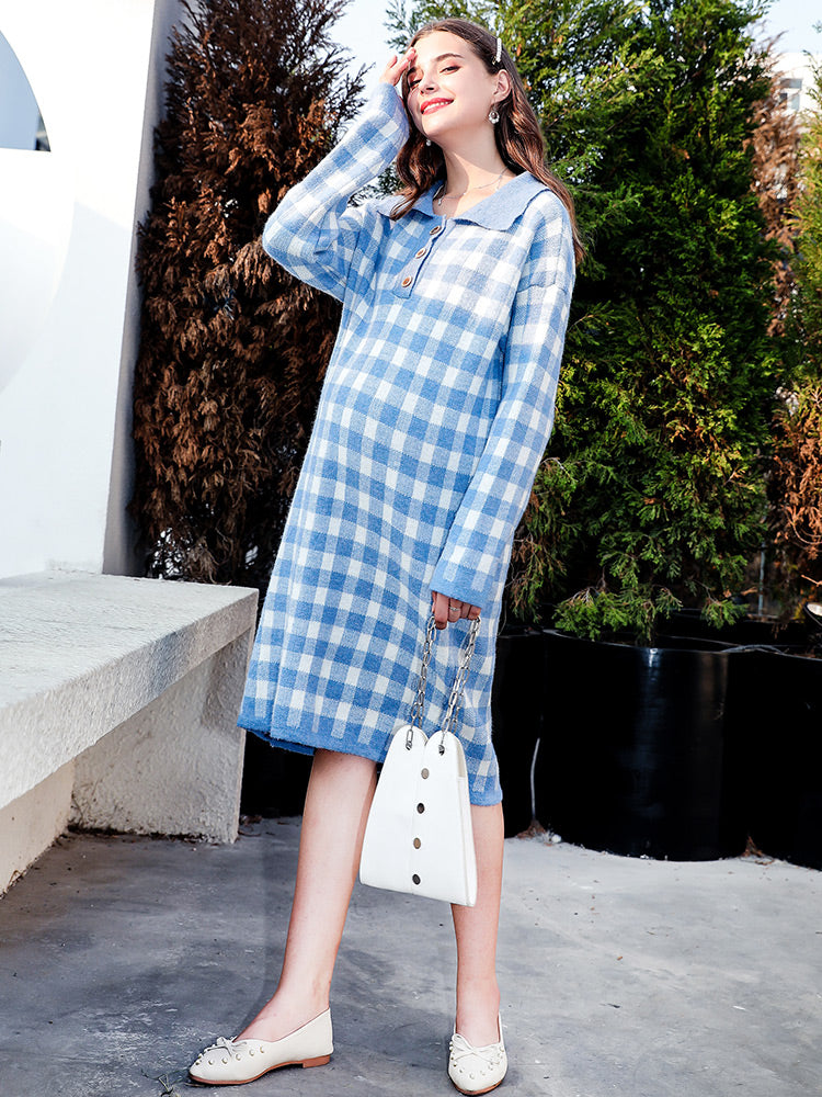 Winter Plaid Midi Korean Dresses