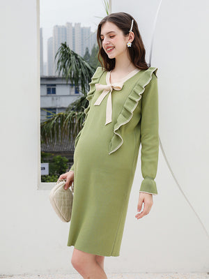 Autumn Solid Color Midi Korean Dresses
