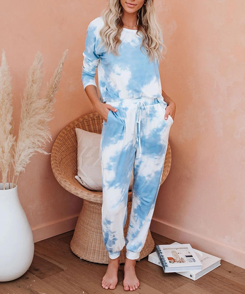 Blue O Neck Tie Dye Top Blue Jogger
