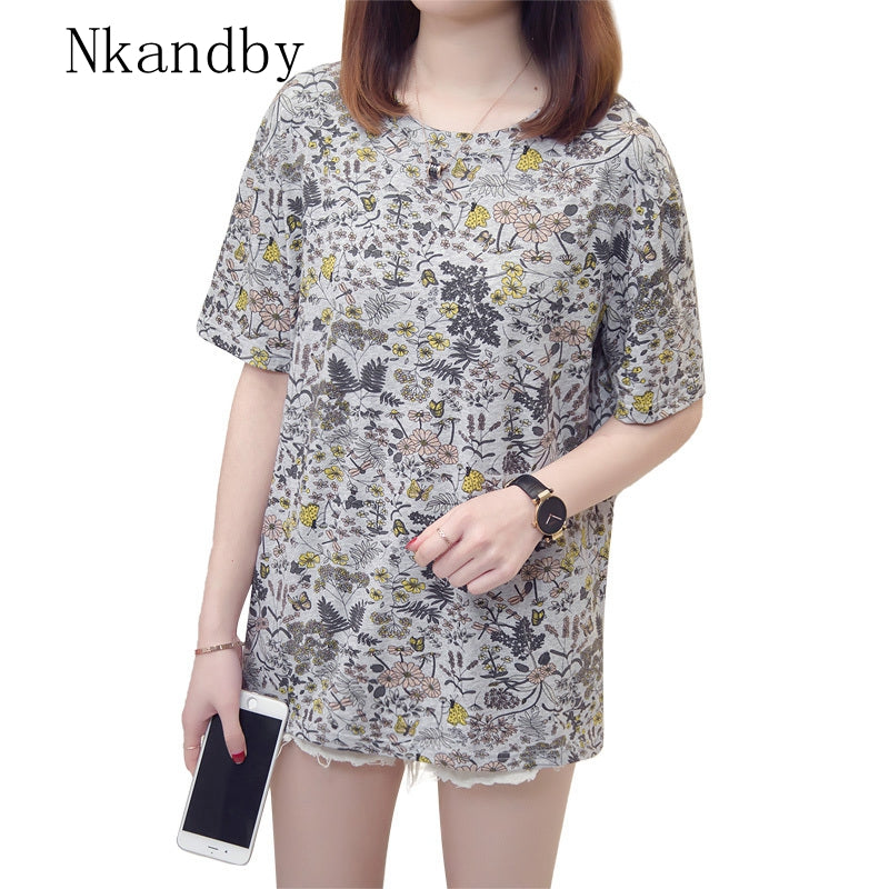 Nkandby Summer Printing Loose Short Sleeve Plus Size Tops