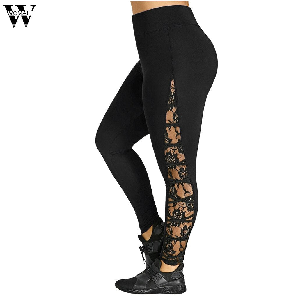 Womail Lace Sexy High Waist  Women Plus Size Pant