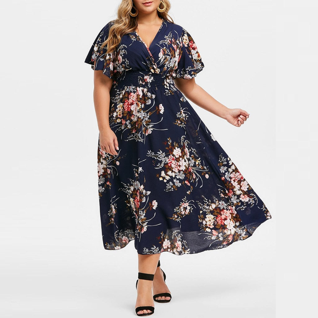 Womail Floral Printed V-Neck Dress