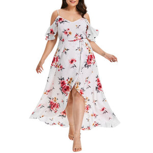 Womail Cold Shoulder Boho Flower Print Dress