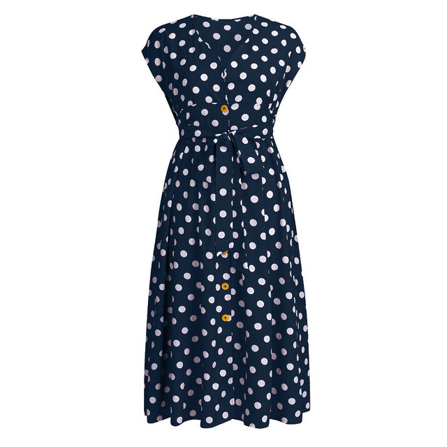 Womail Polka Dot Print Button Plus Size Dress