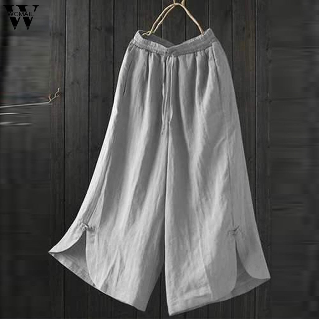 Womail Cotton High Waist Wide Leg Pants Pockets Solid Color  Plus Size Pant