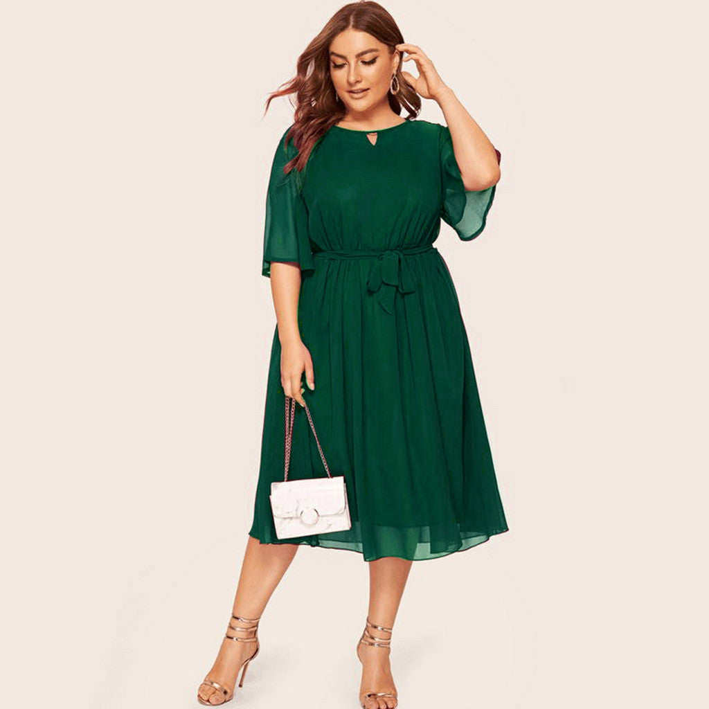 Womail Solid Color Plus Size Dress