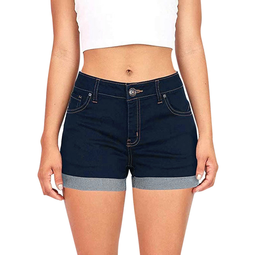 Women Mid  Waisted Washed Denim Plus Size Short