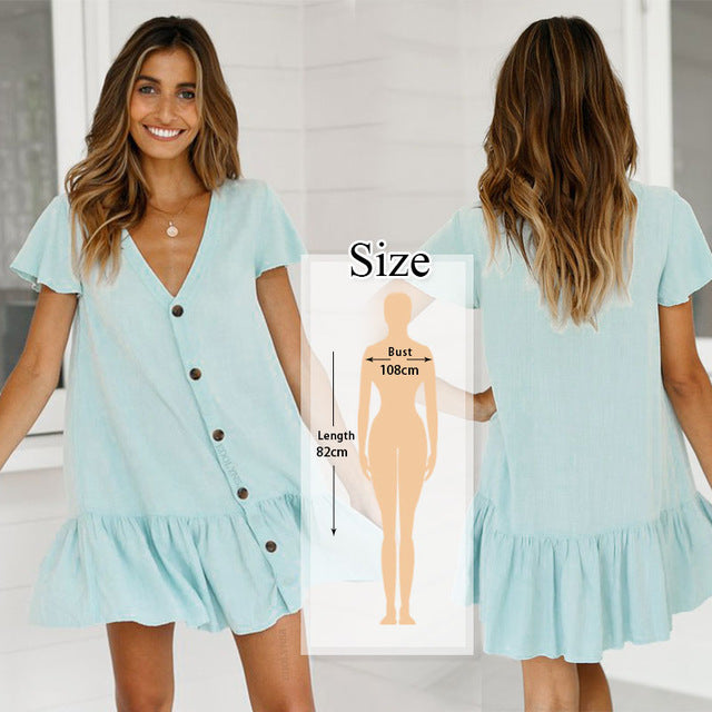 2020 Loose Summer Cotton Tunic Hollow Out Mini Dress