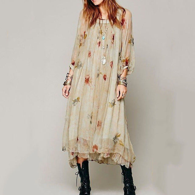 Women Summer  Bohemian Floral Printed  Lace long  Dress