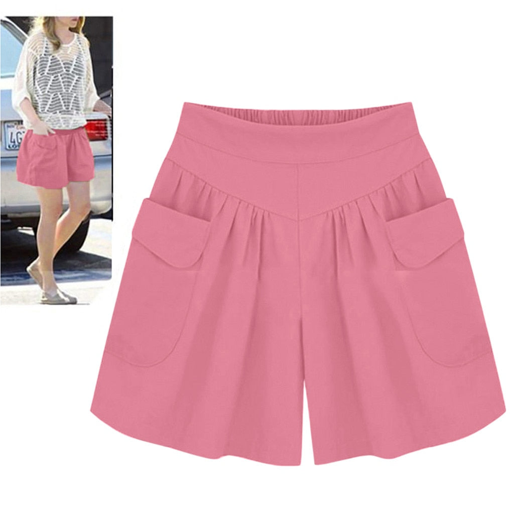 Summer High Waist Casual Wide Leg Women Plus Size Short