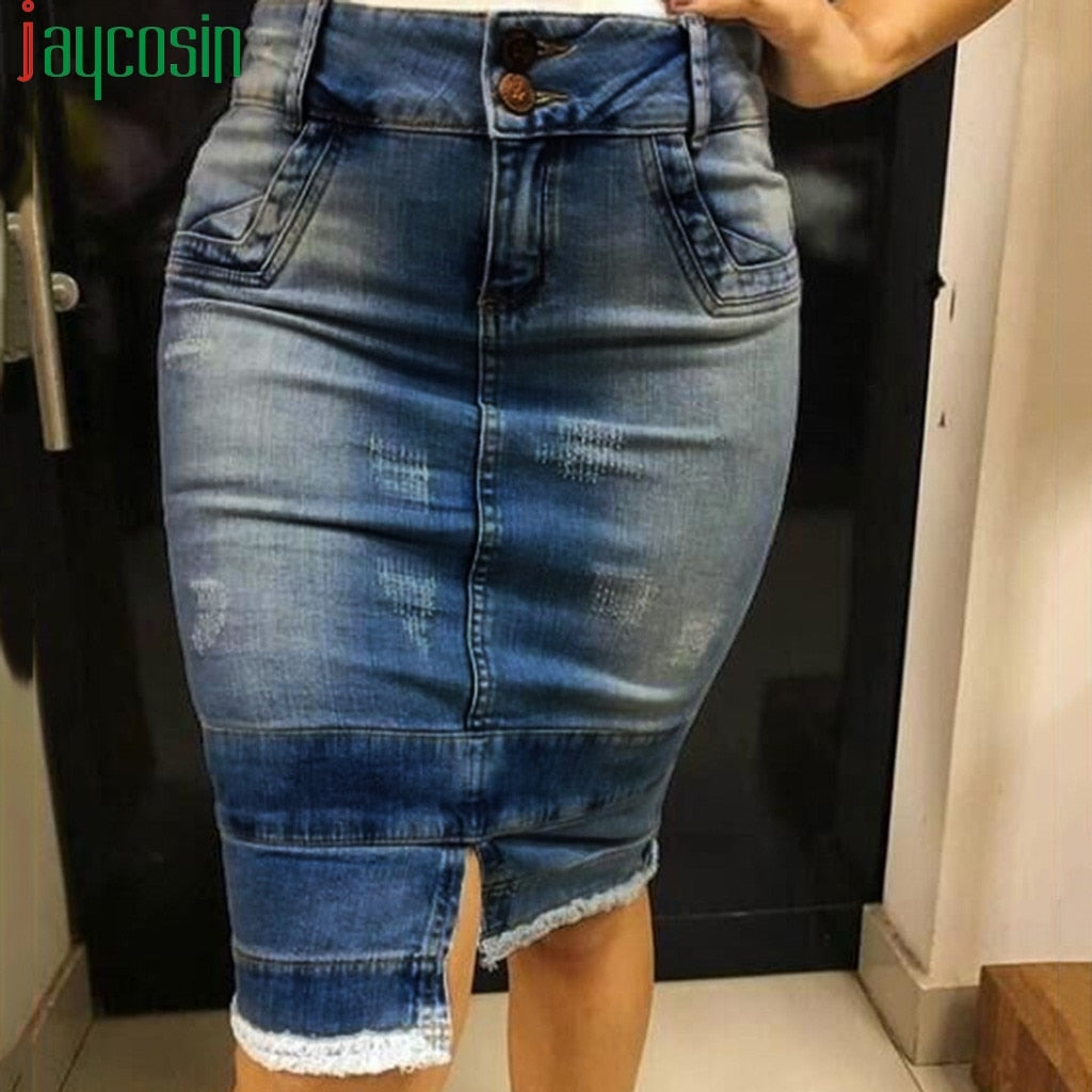 Women's Denim Skirt Cotton Slim Pocket Split Zipper Plus Size Skirt
