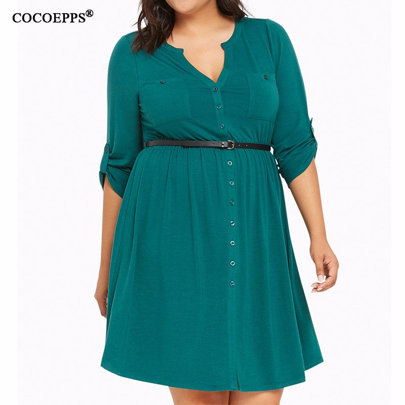 Women Fashion Plus size V neck Elegant Dress