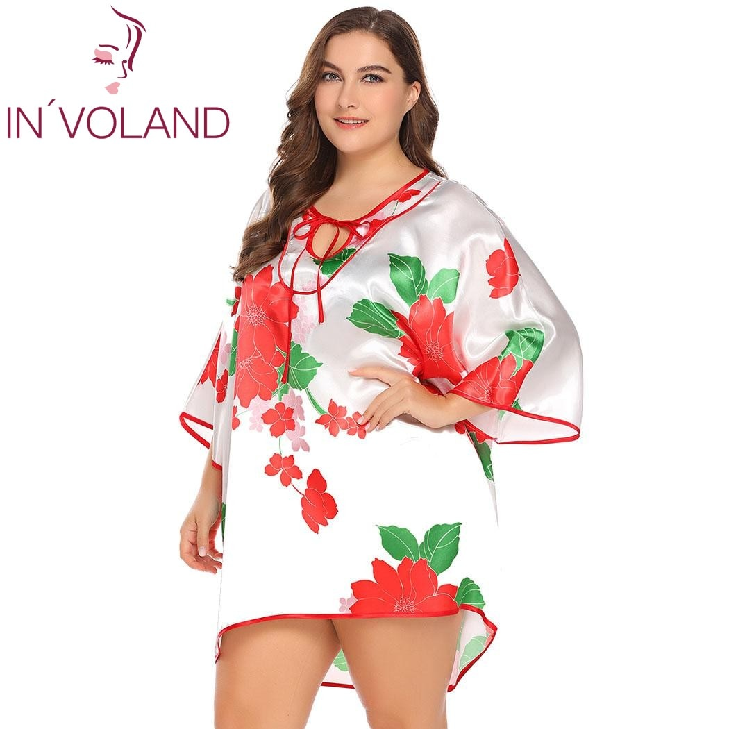 IN'VOLAND Lace Up Floral Print Loose Irregular Hem Satin Plus Size Sleepwear