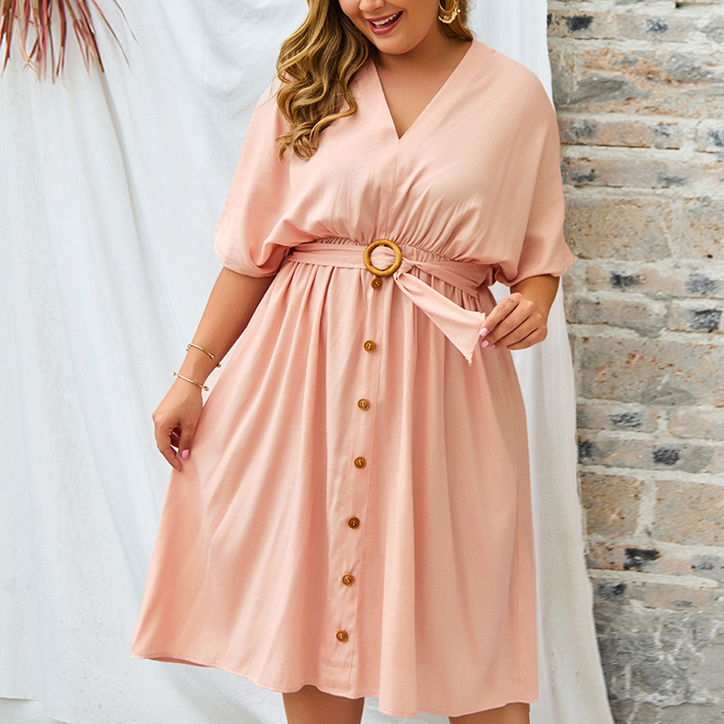 Womens Plus Size Solid Short Sleeve Dress
