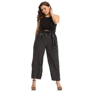 WHZHM High Waist Loose Plus Size Pants