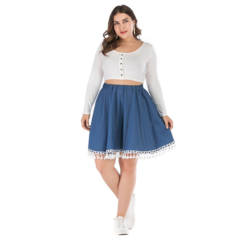 Loose Elastic Waist Lace Denim Pleated Summer Women Plus Size Skirt