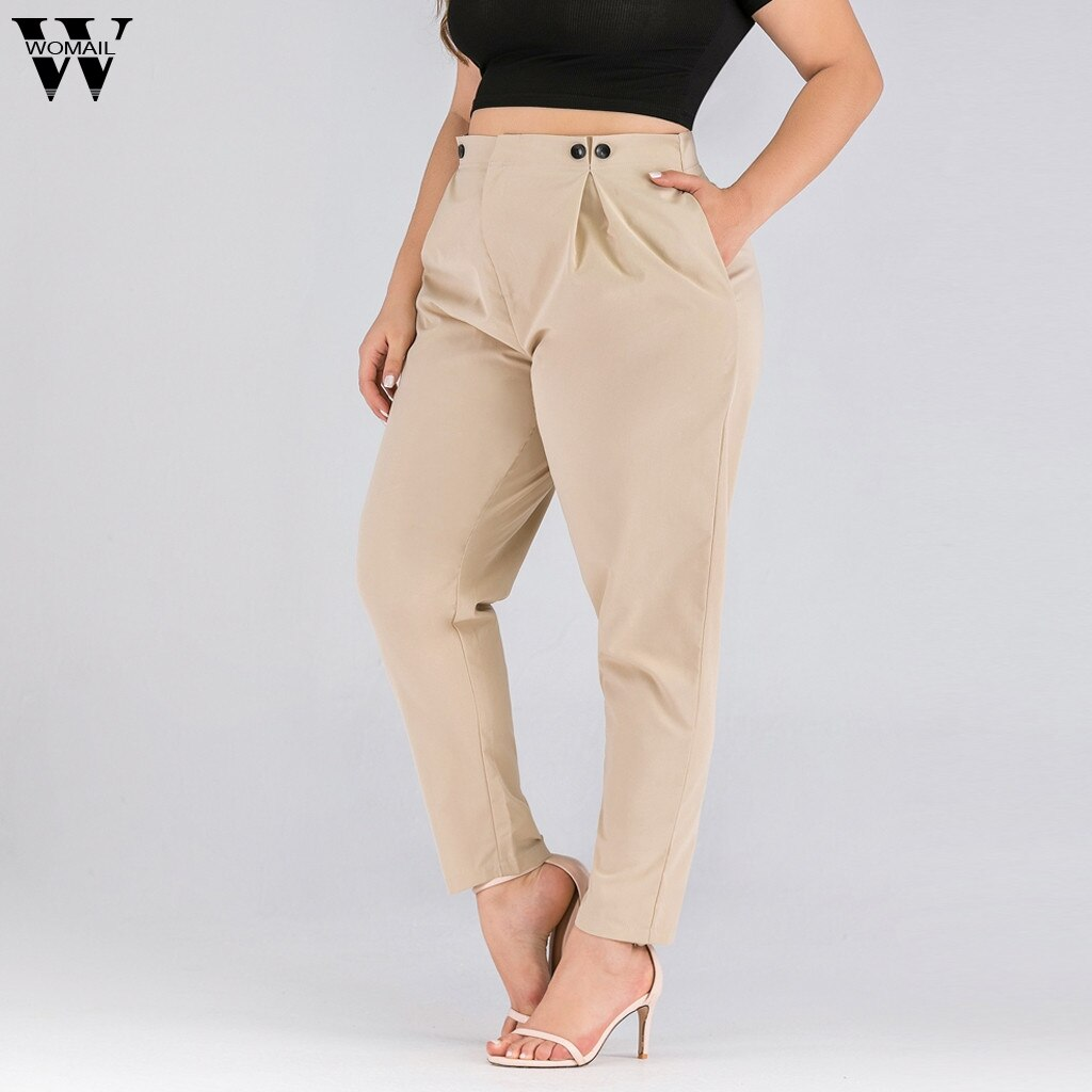 Womail Womens Leggings Khaki Solid Plus Size Pants
