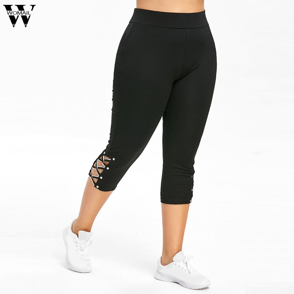 Womail Women Cross Strap Elastic Waist Calf-Length Plus Size Pant